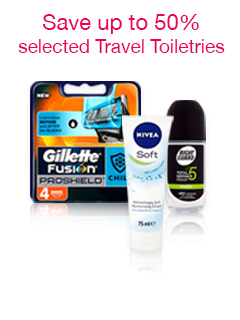 Up to 50% off selected Travel Toiletries