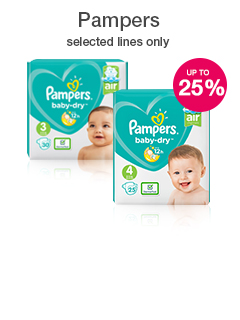 Save up to 25% on selected Pampers