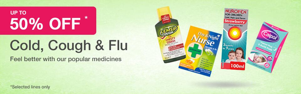 50% off Cold, Cough & Flu