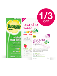 Save 1/3 on Bronchostop/ Buttercup lines
