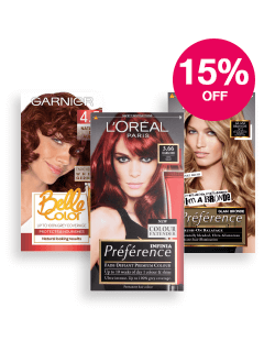 Save 15% on L'Oreal & Garnier Hair Colour