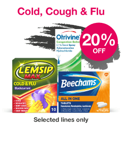 Save 20% on selected Cold, Cough and Flu