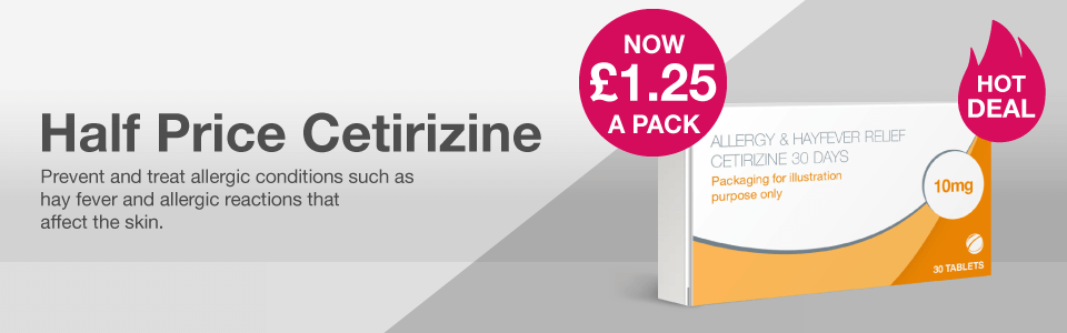 Hot Deal - Cetirizine NOW £1.25