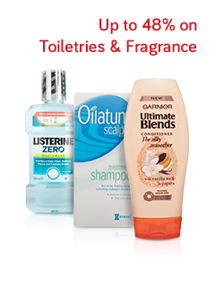 >Up to 48% on Toiletries & Fragrance