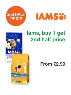 Iams, buy 1 get 2nd half price