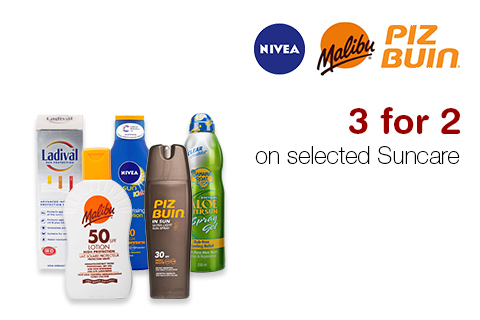 3 for 2 on selected Suncare