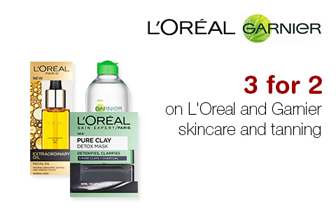 3 for 2 on Loreal and Garnier skincare and tanning