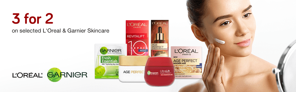 3 for 2 on L'Oreal & Garnier Skincare