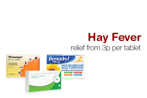 Hay Fever relief from 3p per tablet (generic)