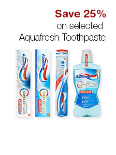 Save 25% on selected  Aquafresh Toothpaste