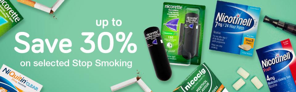 Save up to 30% on Stop Smoking Aids
