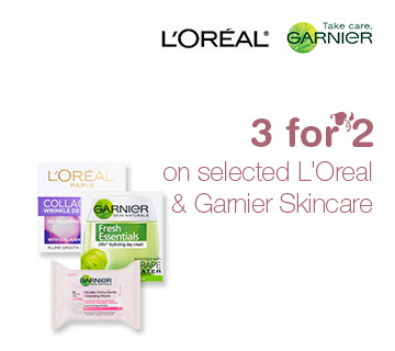 3 for 2 on selected L'Oreal & Garnier Skincare