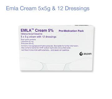 Emla numbing cream 5x5g with 12 dressings
