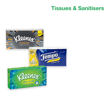Tissues and Sanitisers
